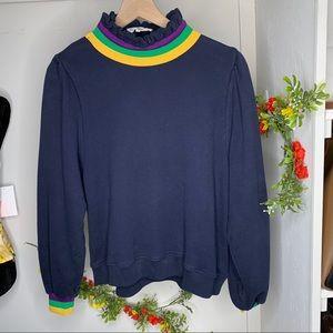 Ba&sh Navy Multi Stripe Alix High Neck sweatshirt